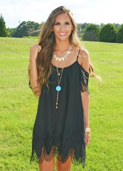 This black cold shoulder dress with crochet- lace detail is to die for!                                                                                                                                                                                 More