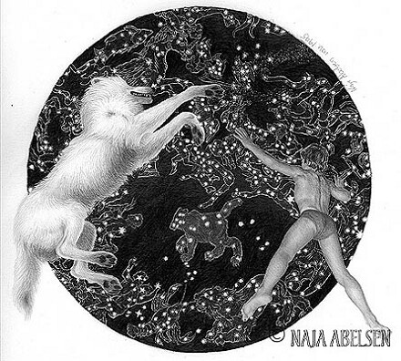 """På vej til Stjernebilledet Ulven"" (meaning: travelling towards the star picture The Wolf). Pencil drawing by Naja Abelsen. WOLF MYTH SERIES - www.123hjemmeside.dk/NajaAbelsen (original sold) Available as A3-photoprint 400 DKK / 54 Euro."