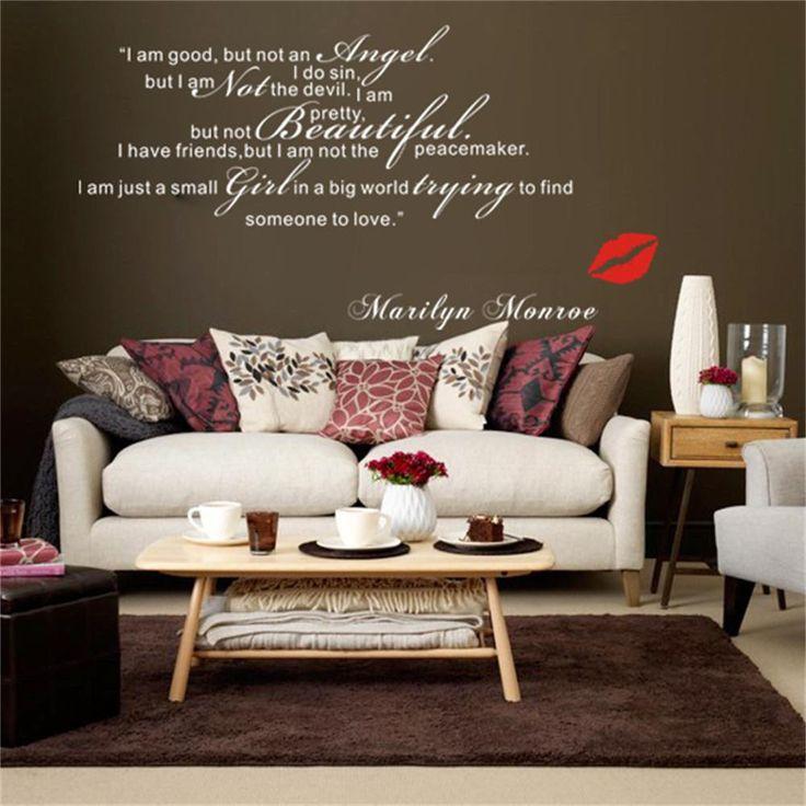 Мэрилин Монро Цитаты я не ангел Виниловые Стены Стикеры Главная Наклейка Стикера 52 Х 100 СМ