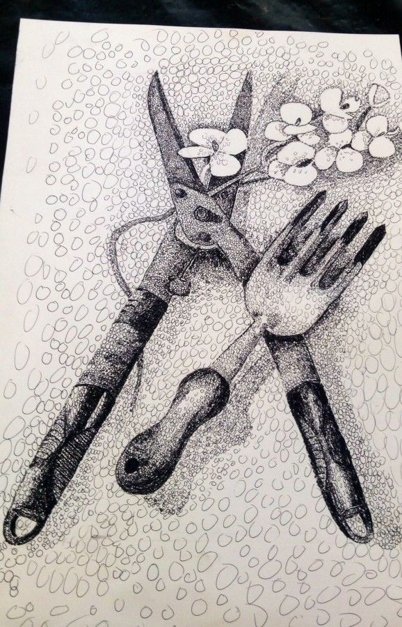 Great line drawing by IGCSE student Hilary Maonde. Great example in mark-making.