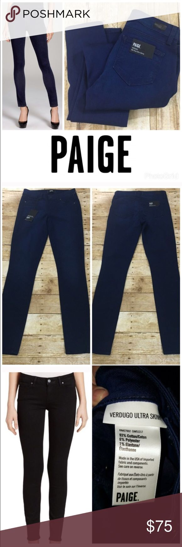 Paige ultra skinny verdugo jeans Brand new with tags- dark ink blue color- has nice stretch and fit super skinny to the legs- look great with heels! Paige Jeans Jeans Skinny