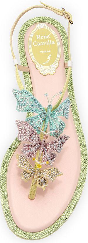 Sencillamente son unas sandalias sublimes, qué bonitas... Rene Caovilla Crystal Butterfly T-Strap Sandal, Multi