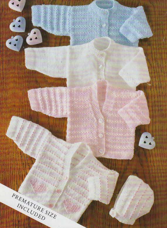 2 years Downloadable PDF baby girls boys Heart Cardigan V or round neck Knitting Pattern 4 ply 14-22in Premature