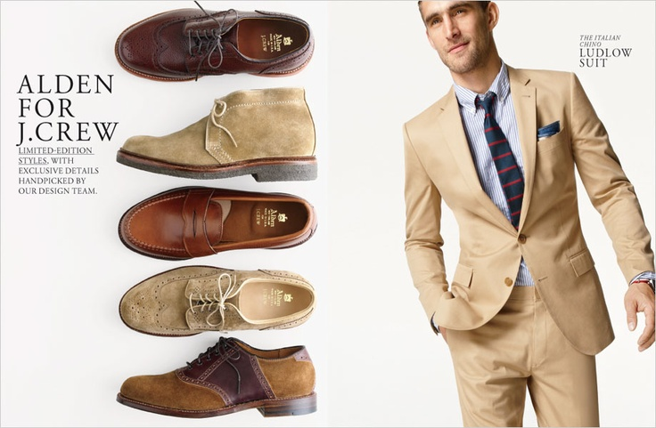 Slim fit chino khaki suit with the right pair of shoes on the left
