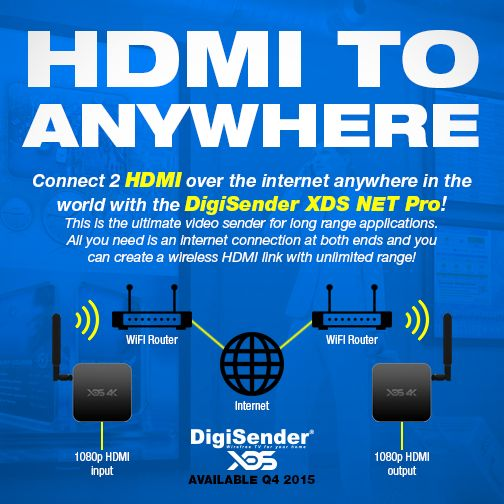 The DigiSender XDS NET Pro is the ultimate video sender for long range applications. All you need is an internet connection at both ends and you can create a wireless HDMI link with unlimited range. Transmit your HDMI sources to anywhere in the world!  Perfect for commercial applications such as airport media distribution, digital signage or stage and performance works, the XDS NET Pro delivers an unequalled full HD 1080p picture and incredible HD sound via the digital optical audio output.
