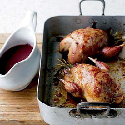 Roast Partridge with Cranberry and Red Wine Gravy