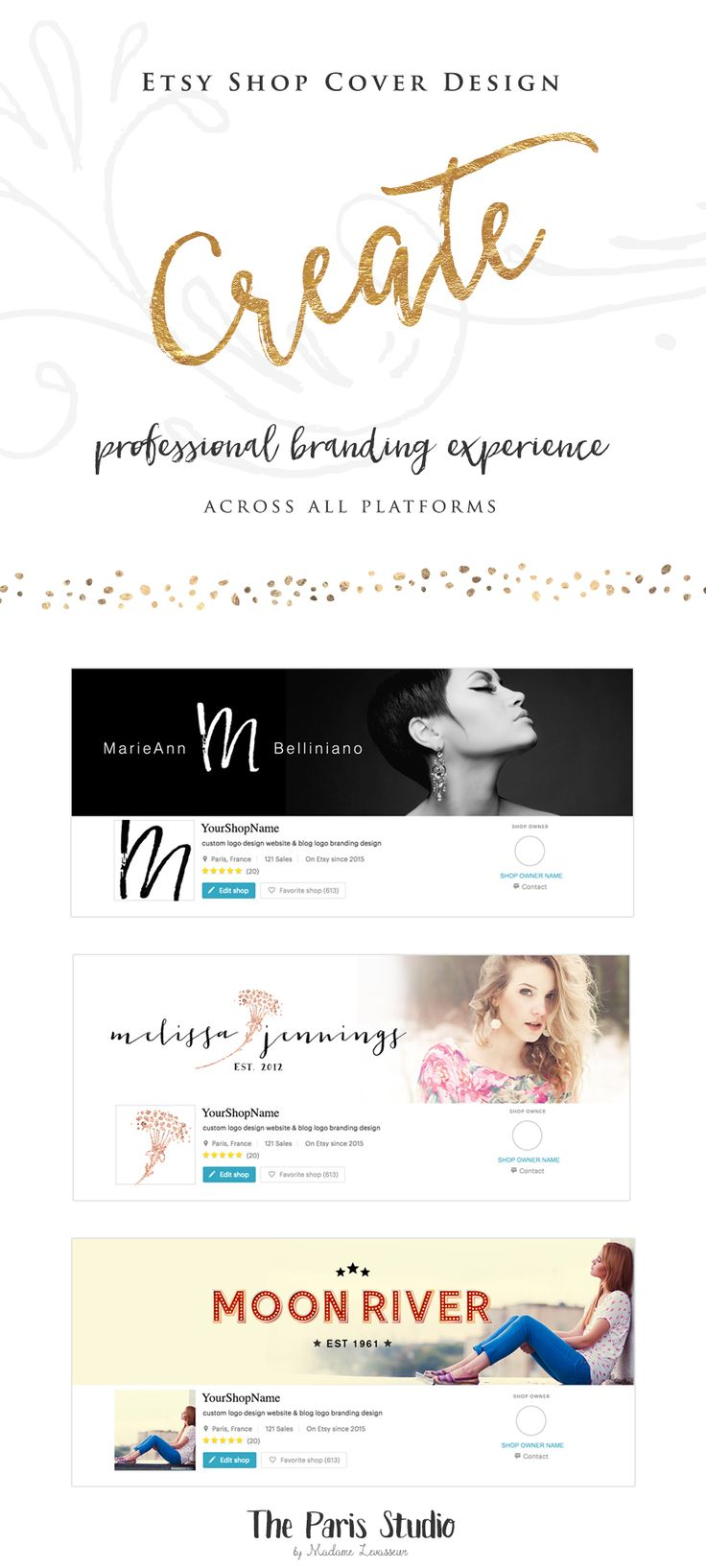 WordPress Website Header Design (Blog Header, Twitter & Facebook Cover Design, Etsy Shop Cover Design) - website branding for creative business by The Paris Studio, Madame Levasseur