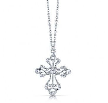 25 best opulent necklaces images on pinterest diamond necklaces rhondafabergreen design elegant 18k white gold diamond filigree cross pendant with scroll like patterns aloadofball Image collections