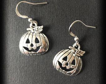 Halloween zucca orecchini, gioielli spettrale, Halloween orecchini, argento, fatto a mano gioielli, regalo gotica, gotico gioielli, alternativa di antiquariato