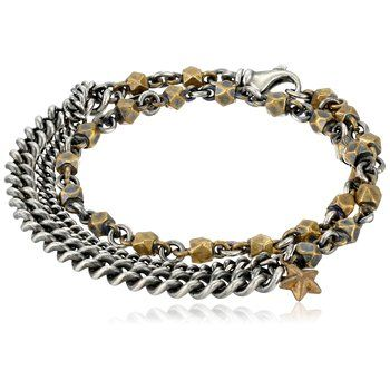 Chunky and dark, the M.Cohen Handmade Designs bracelet is made from 925 sterling silver with brass accents dotted along its chain