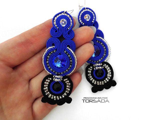 Kolczyki sutasz szafirowe z kryształami by BIŻUTERIA TORSADA