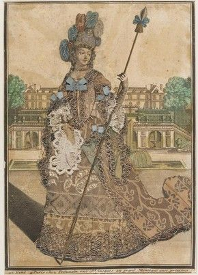Figure 4 - Engraving, unknown woman with spear, Antoine Trouvain, late 17th century. Museum no. 1196-1875