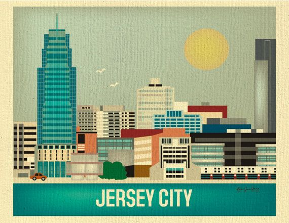 Jersey City, New Jersey - Wall Art Gift for Home, Couples, Graduation, Birthday, and Anniversary - style E8-O-JER