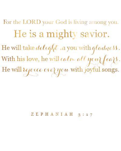 Zephaniah 3:17 Free Printable Gold - The Beautiful Deep