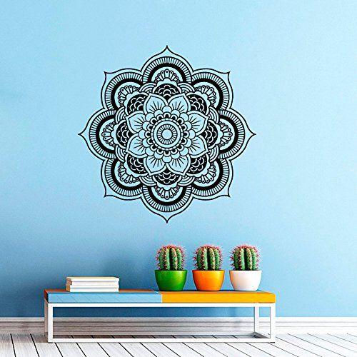 "Wandtattoo/Wandaufkleber Aus Vinyl, Motiv Mandala, Marokkanisches Muster, Geometrische Indisch Om Symbol ""Namaste Yoga Studio Home Decor Fototapete Kinderzimmer"
