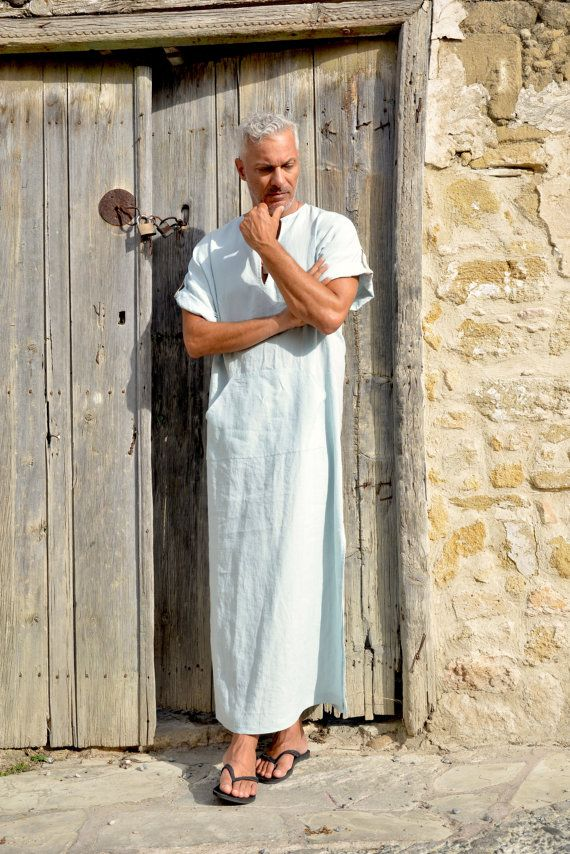 Icy blue pure linen men's caftan. Short sleeved cool by YUMEworld