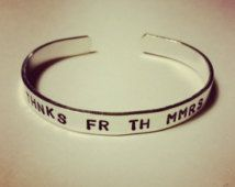 """Thnks fr the Mmrs - Thanks for the Memories- Hand-Stamped Aluminum Cuff Bracelet- 1/4"""" Wide- Fall Out Boy Inspired"""