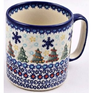 Polish Pottery Coffee Mug, Christmas Tree Pattern