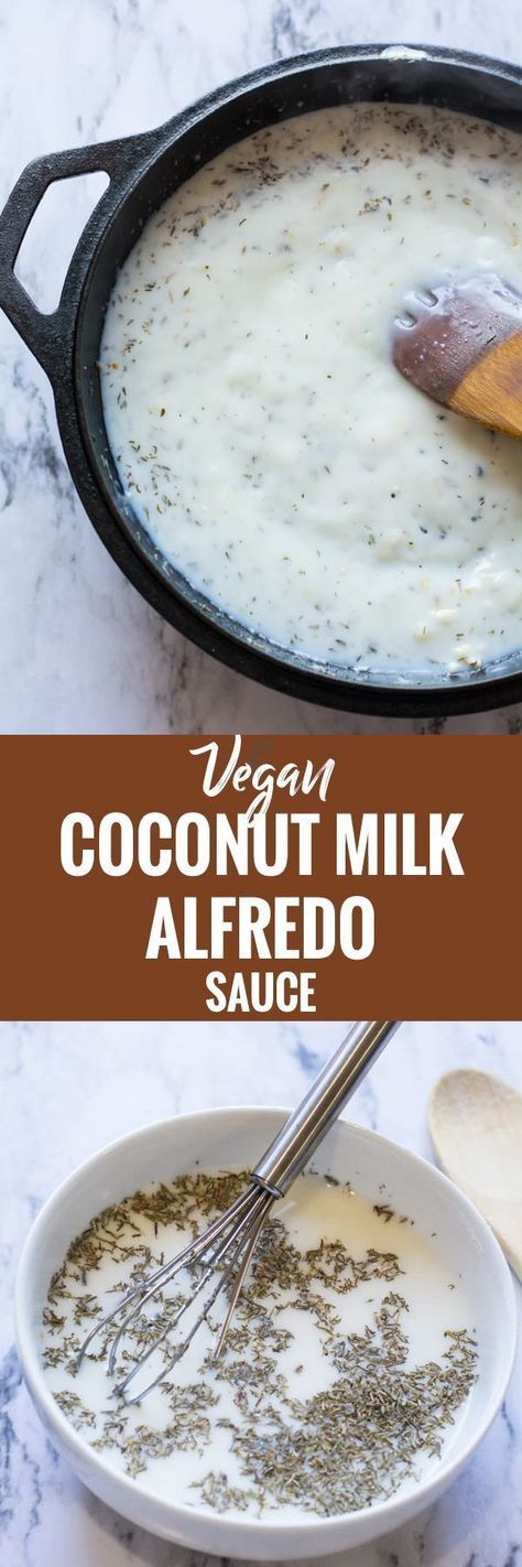 This vegan alfredo sauce easy and quick. No nuts, dairy free and made with coconut milk. Great for rich and creamy quick dinner under 20 minutes.