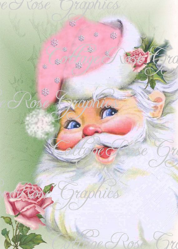 Pink Shabby Retro Santa and roses