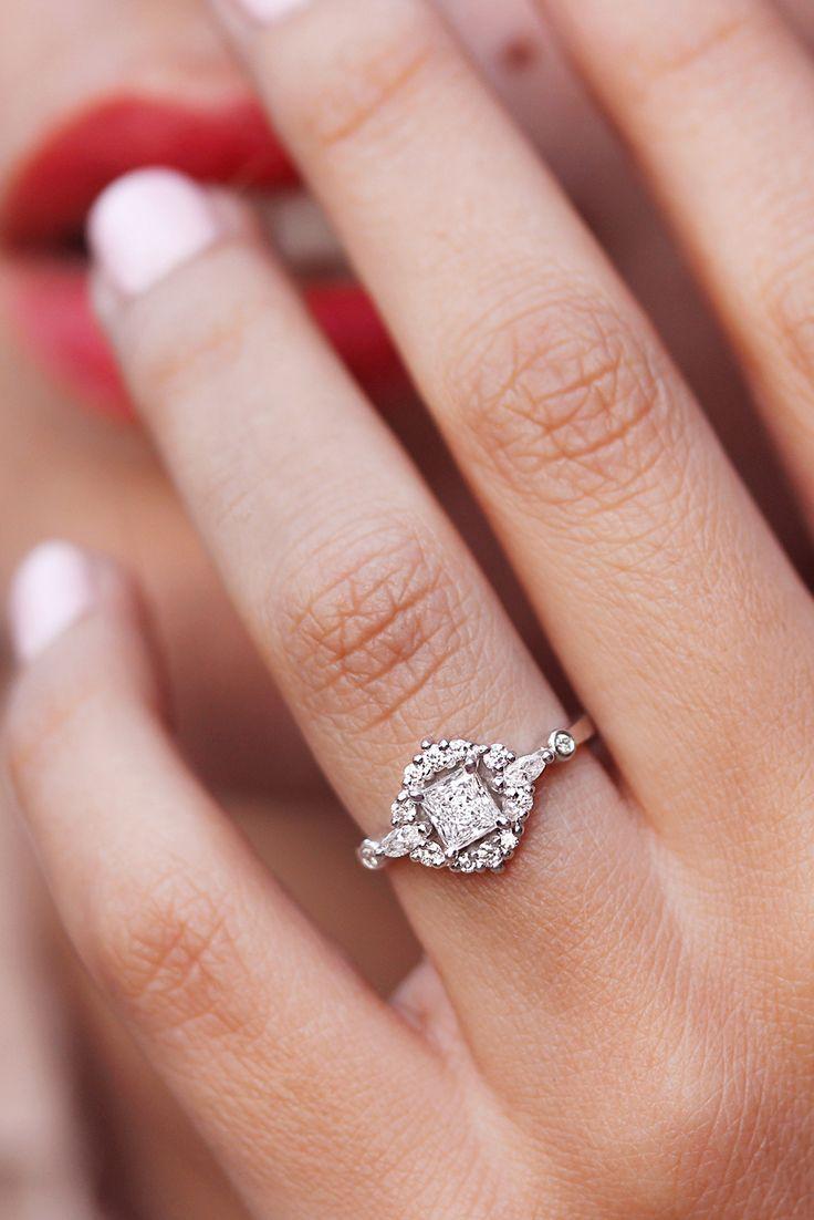Square Princess Cut Diamond, White Gold Unique Engagement Ring, the ...