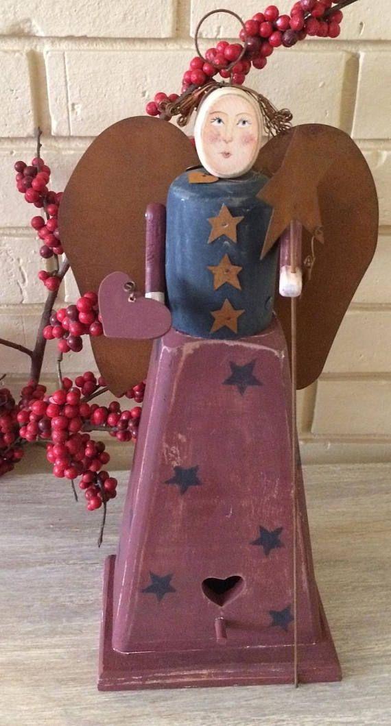 Vintage Handmade Angel  wood / metal Art and