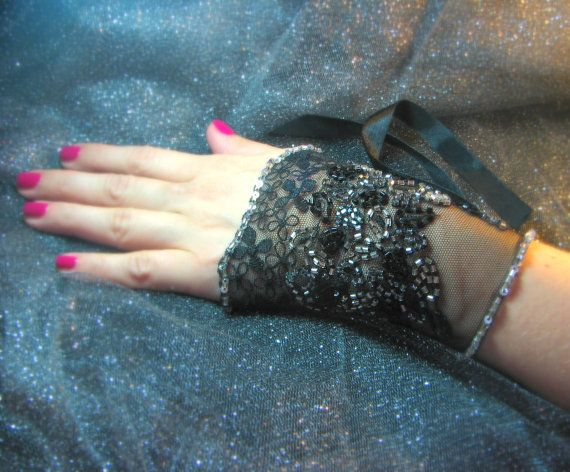 OOAK Hand Beaded Lace Cuff in Black with Silver by YovankaBlack