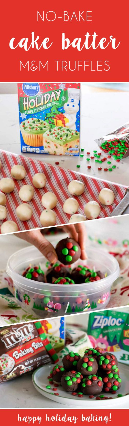 From cookie exchanges to family gatherings, there are so many reasons to head to Target for the supplies to make these No-Bake Cake Batter M&M's Truffles this holiday season. A box of Pillsbury Funfetti Holiday Cake Mix is transformed into chocolate-coated, bite-size truffles and then topped with red and green M&M's Holiday Minis for a festive finish. Wrapped up in a Ziploc Holiday Printed Container, this is one gift idea that is sure to be enjoyed by everyone on your list.