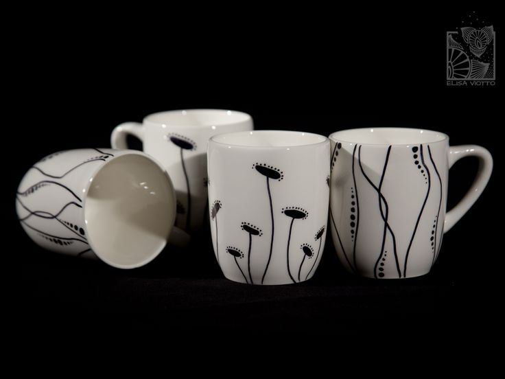 mug series hand painted by Elisa Viotto Arte