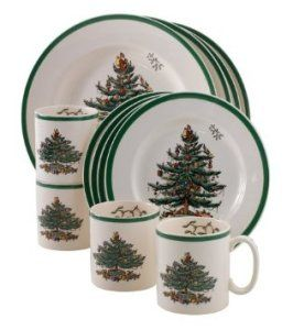 Spode Christmas Tree 12-Piece Dinnerware Set, Service for 4 4 each: 10-1/2-inch dinner plate; 8-inch salad plate; 9-ounce mug. http://bit.ly/1T6KDQq