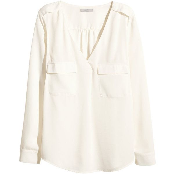 H&M V-neck blouse found on Polyvore featuring tops, blouses, shirts, white, white top, h&m shirts, v neck blouse, h&m blouse and vneck shirts