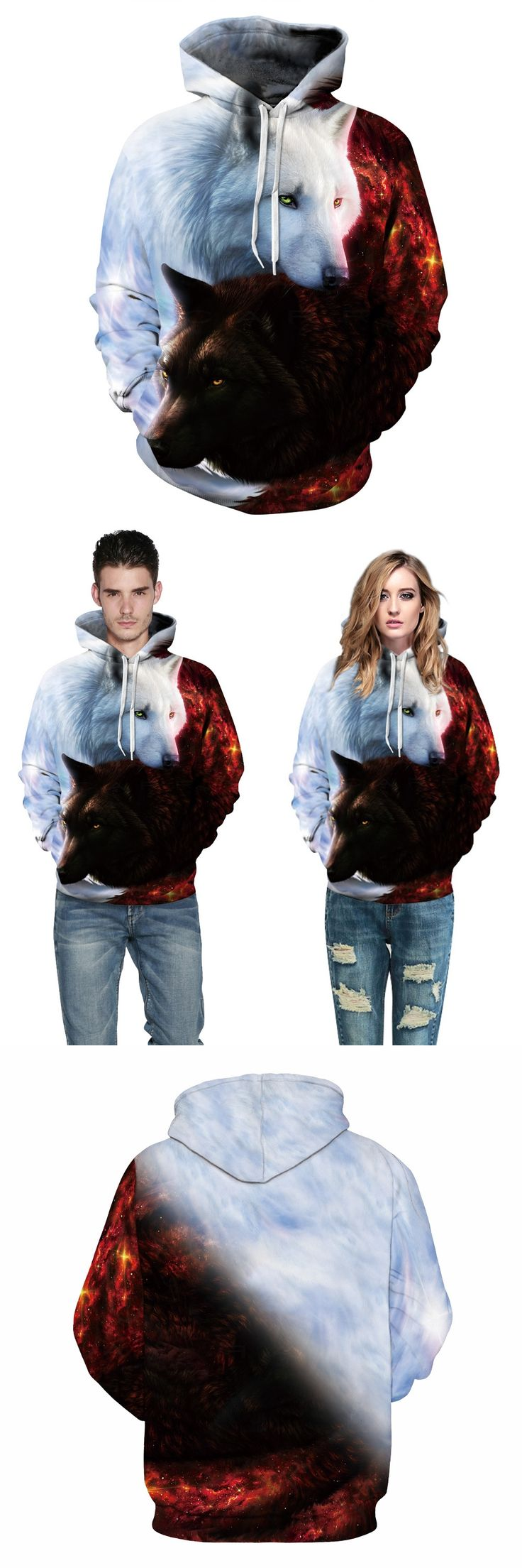 New Fashion Animals Print Hoodies Men/women 3d Sweatshirts With Hat Print White And Black Wolf Hooded Hoodies Hoody