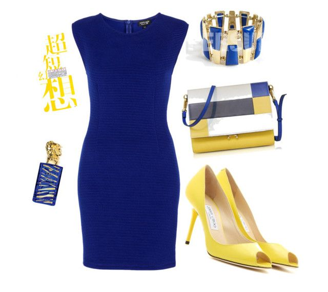blue and yellow by Diva of Cake  featuring polyvore moda style Topshop Jimmy Choo Marni Sisley fashion clothing