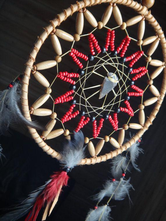 Corneille, Capteur de rêves (Dreamcatcher). Totem de la Corneille Amérindien. Pointe de flèche Jaspe. Spiritualité Mystique Plumes