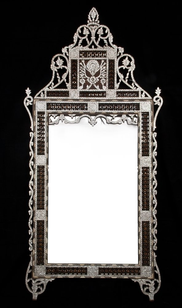 Late 19th Century Ottoman Syrian mother of pearl inlaid Wood Mirror