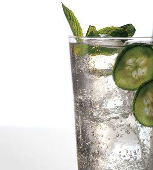 cucumber soda w basil and mint