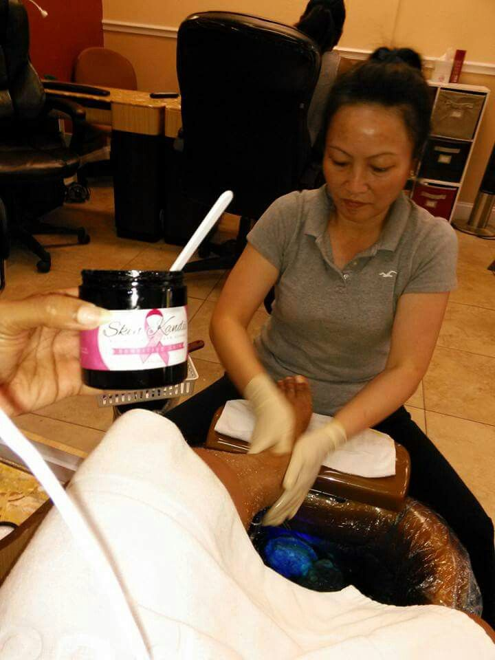A customer sent a picture of her scrub during her pedicure services!!! Luv it!!!