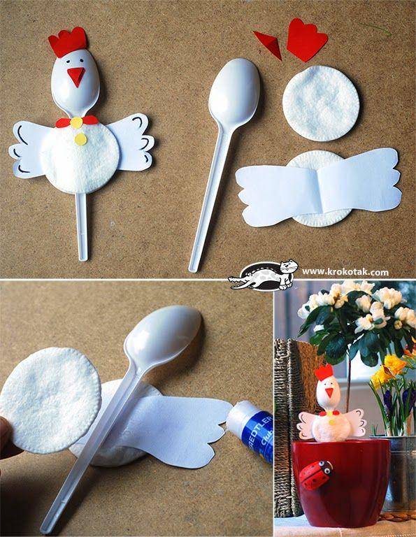 Kip   We gebruikte plastic lepel, oogmake up remover pads, lijm, verschillende kleuren papier.  De tekeningen op de lepels zijn gemaakt met ...