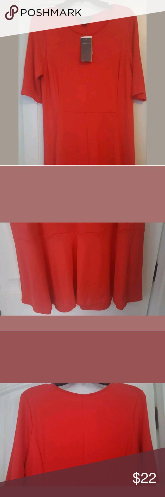 Donna Ricco Womens Dress Donna Ricco Red Skater Dress - Size L - 3/4 Sleeve - Comfy - Dress Up/Down -   Flirty/Flare Donna Ricco Dresses