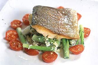 Gordon Ramsay's sea trout and baby leeks
