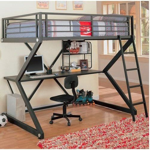Full-Size Metal Bunk Style Loft Bed with Desk
