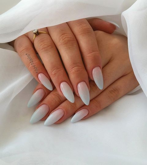 SPN: Frozen Gel, UV LAQ 504 Candy French, UV LaQ 610 Pastel Blue Nails by: Agnieszka Hausman, SPN Nails UK Team