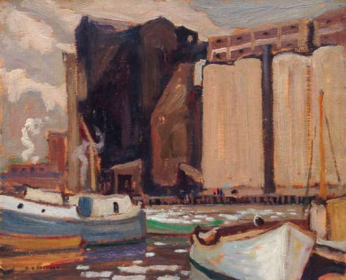A.Y. Jackson - Midland Harbour 8.5 x 10.5 Oil on panel (1922)