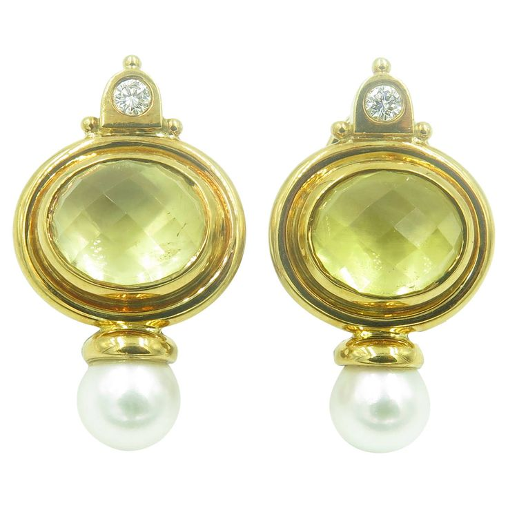 Elizabeth Gage Beryl Pearl Diamond Gold Valois Earrings | From a unique collection of vintage clip-on earrings at https://www.1stdibs.com/jewelry/earrings/clip-on-earrings/