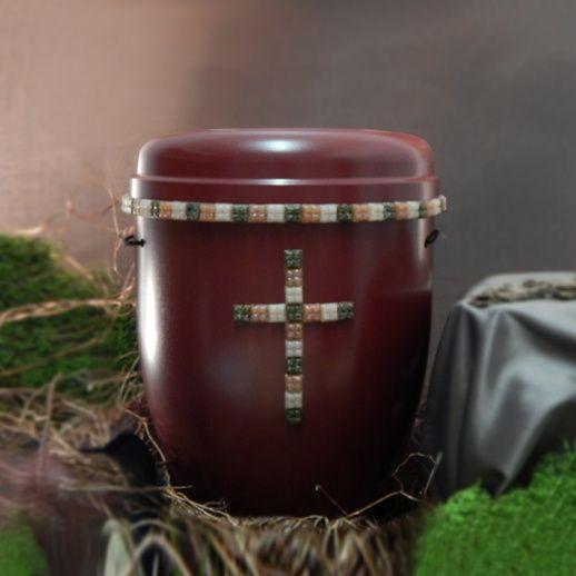 Designerurne mit Mosaik Kreuz Rot »Piacenza« • einzigartige & handgefertigte Urnen aus Naturfaser • Jetzt versandkostenfrei kaufen bei ▷ Serafinum.de