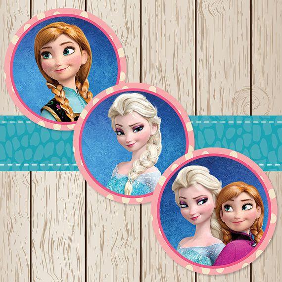 Printable Disney Frozen Elsa Anna Stickers / Cupcake ...