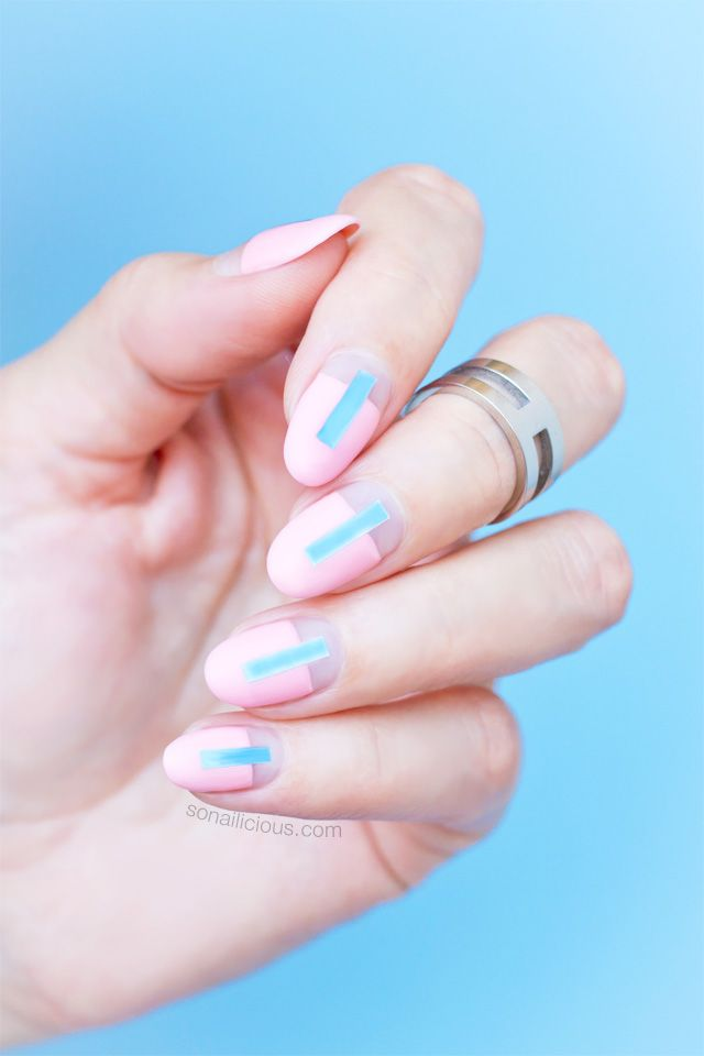 Futuristic pink and blue nails || Pantone Color of the year nails. Tutorial here: http://sonailicious.com/futuristic-rose-quartz-nails-tutorial/