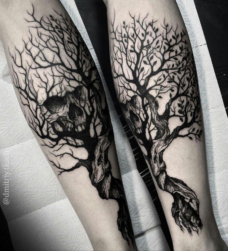 Black and gray tree and skull tattoo by @dmitriy.tkach