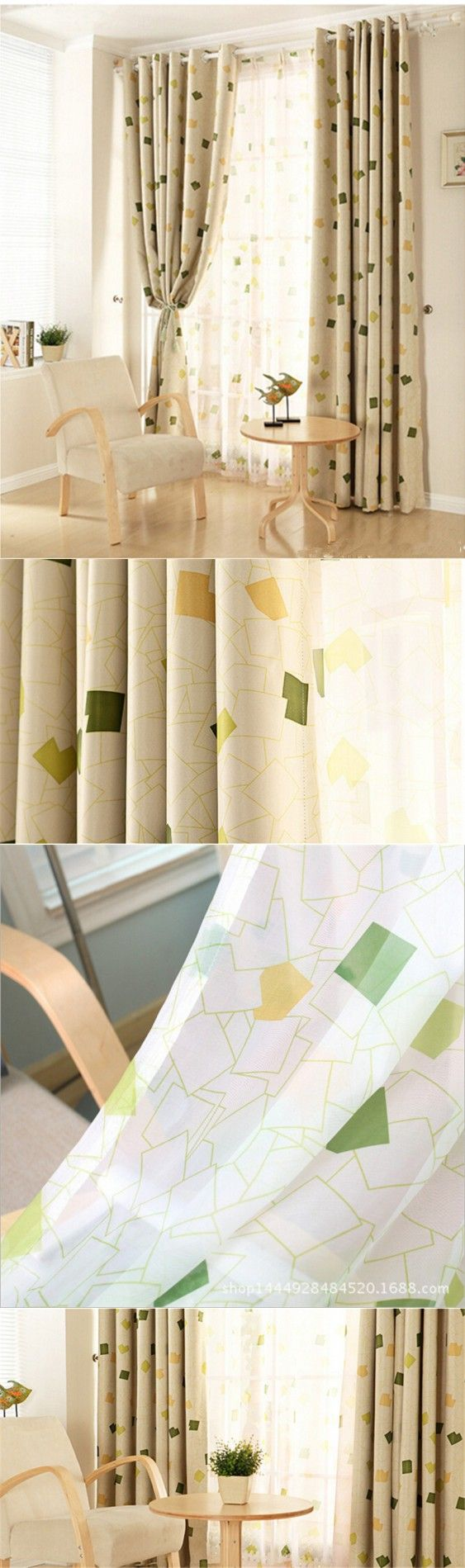 Curtain window curtains for living room bedroom blackout curtains - Luxury Modern Grid Shade Blackout Curtains For Living Room Bedroom Kitchen Decorative Window Curtain