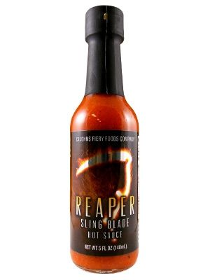 Made with the rare, super-hot Carolina reaper pepper, CaJohn's Reaper Sling Blade Hot Sauce is surprisingly tasty and tolerably hot (no extract). Rich in texture, this hot sauce is made with tomato paste and lemon juice instead of thin, harsh vinegar. Great with anything at the table and in recipes calling for hot sauce. Buy on sale for $8.95 here: http://www.carolinasauces.com/CaJohn_s_Reaper_Sling_Blade_Hot_Sauce_p/1706r.htm